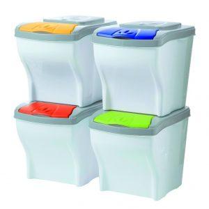 Conjunto de 4 cubos modulares para reciclar de Bama