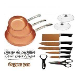 Juego de 3 sartenes de cobre, 2 tapas, tijeras y juego de cuchillos