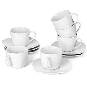 Juego de café de 24 piezas (12 tazas y 12 platillos) de porcelana