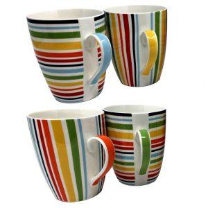 Juego de café de 4 tazas con los colores del arcoiris
