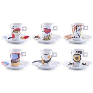 Juego de café de 6 tazas y platillos en diseño con dibujos