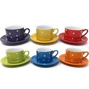 Juego de café de 6 tazas y platos en diseño de lunares
