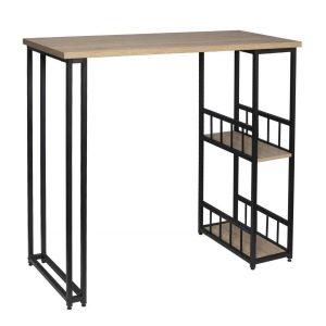 Mesa alta con 2 estantes con protector de piso