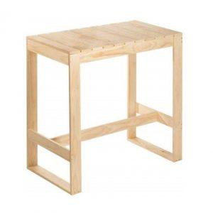 Mesa alta de madera maciza de pino