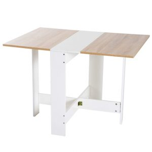 Mesa auxiliar plegable en blanco y madera