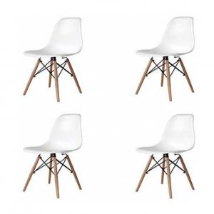 Pack de 4 sillas de madera maciza de haya en color blanco