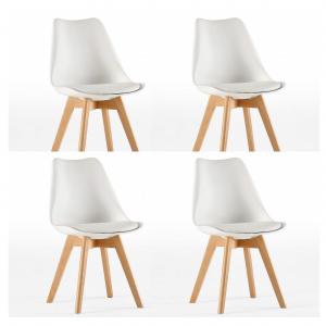 Pack de 4 sillas de patas de madera con asiento acolchado