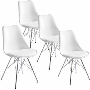 Pack de 4 sillas tapizadas de cuero sintético con respaldo