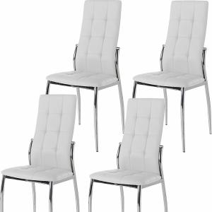 Pack de 4 sillas tapizadas en polipiel blanco
