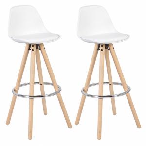 Set de 2 sillas altas de color blanco con patas de madera