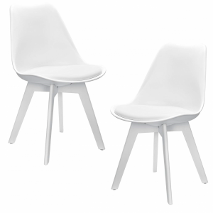 Set de 2 sillas de plástico tapizadas en cuero sintético